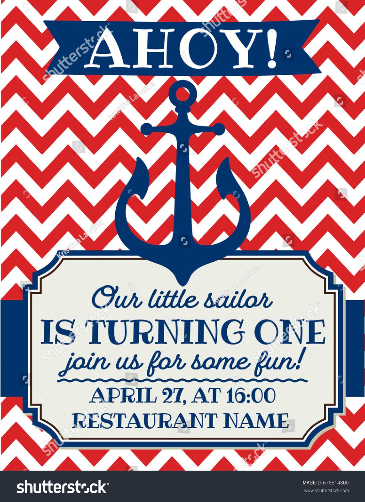Nautical Sailor Theme Printable First Birthday Stock Vector HD ...