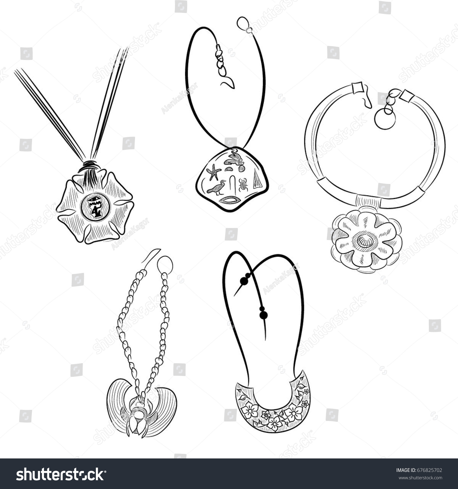 Set Necklace On Neck Vintage Jewelry Stock Vector Royalty Free