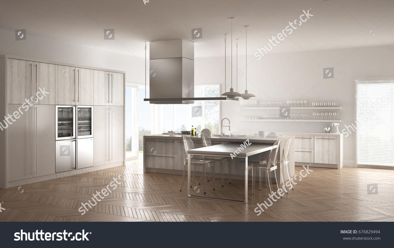 Minimalistic Modern Kitchen Table Chairs Parquet Stock Illustration ...