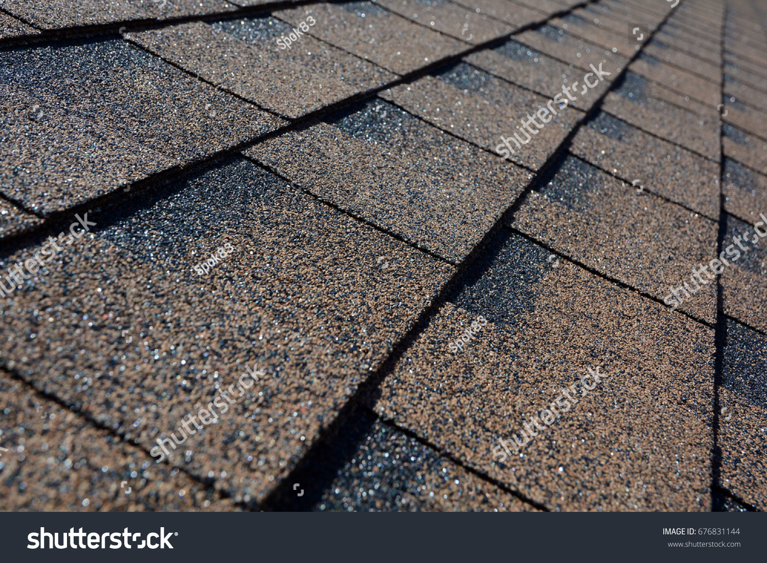Close Up View On Asphalt Roofing Shingles Background. Roof Shingles    Roofing.