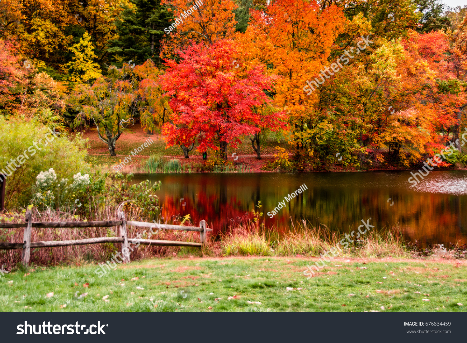 Fall scene with fence and lake #676834459
