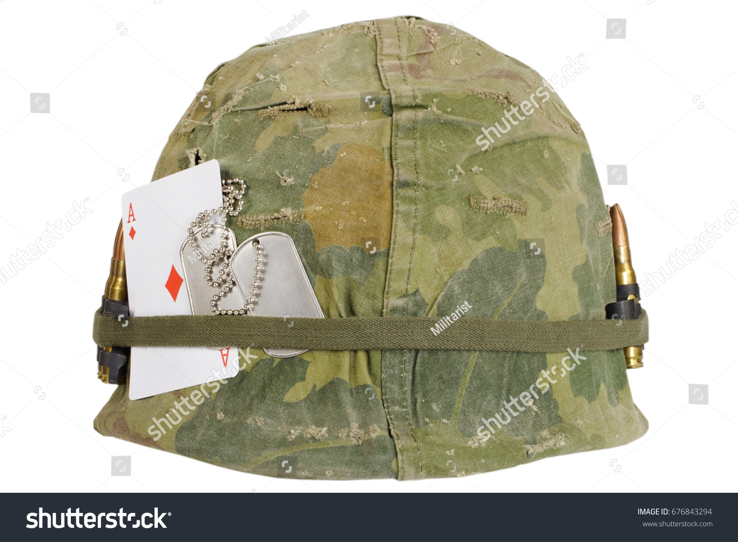 fe601c05 US Army helmet Vietnam war period with camouflage cover and ammo belt, dog  tag and.