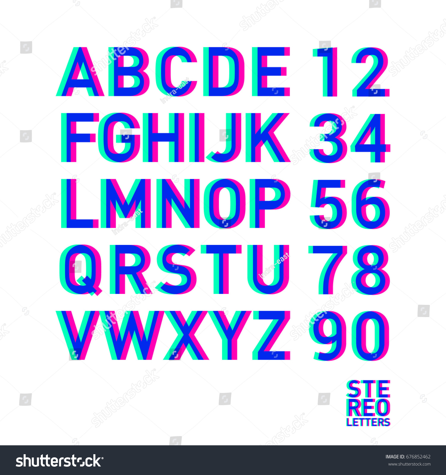 stereo alphabet stereoscopic letters numbers alphabet stock vector