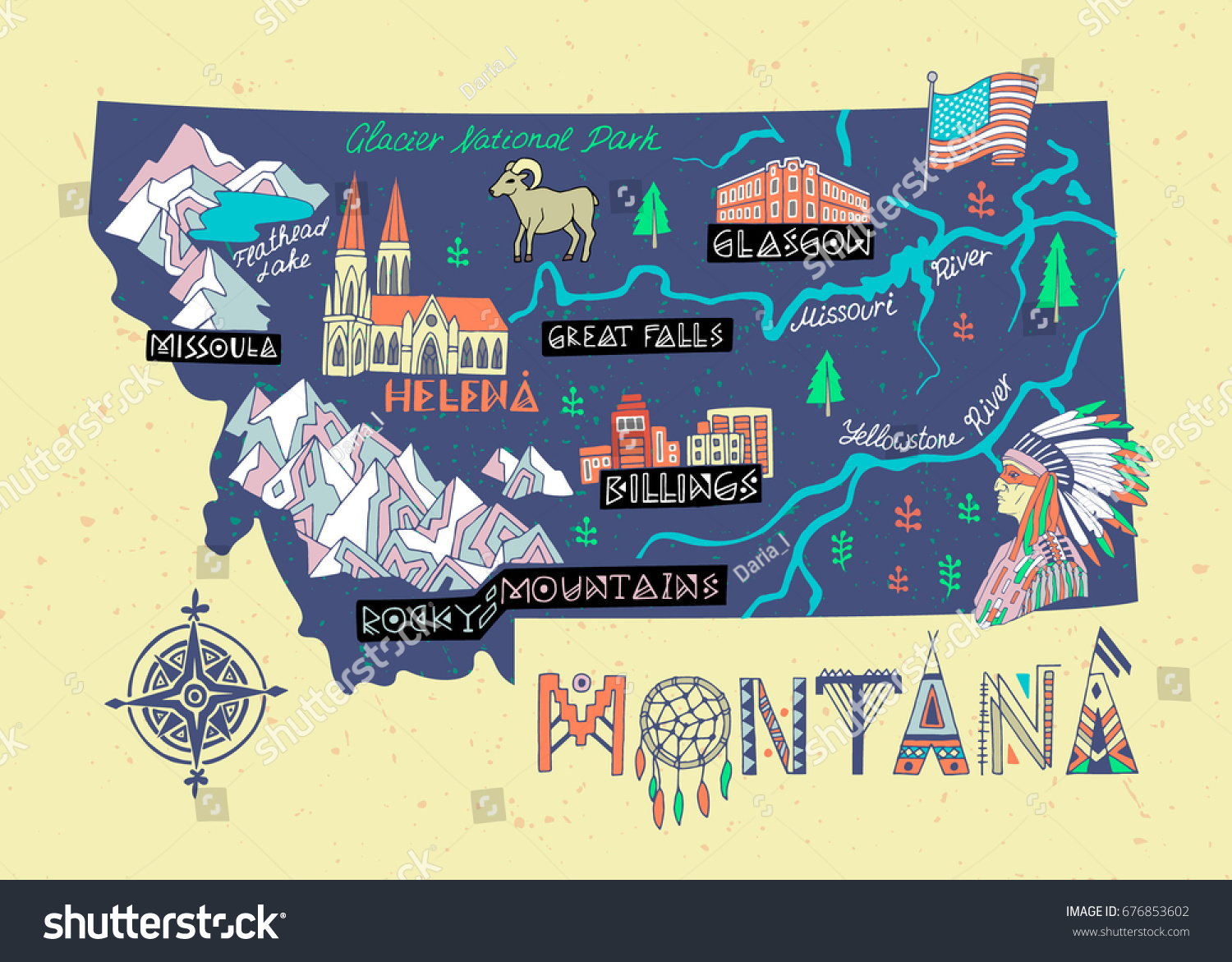 Montana State Illustrated Map Travel Attractions Stock Vector ...