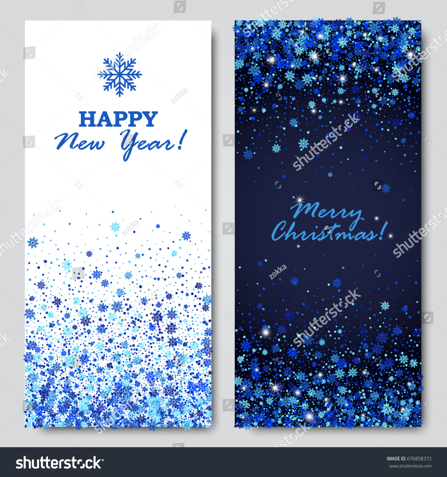 happy new year and merry christmas vertical banners set of scattered blue snowflakes and round confetti