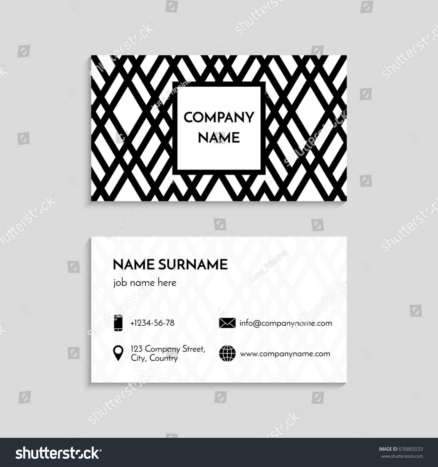 Business Card Template USA Canada Standard Stock Vector 676865533 ...