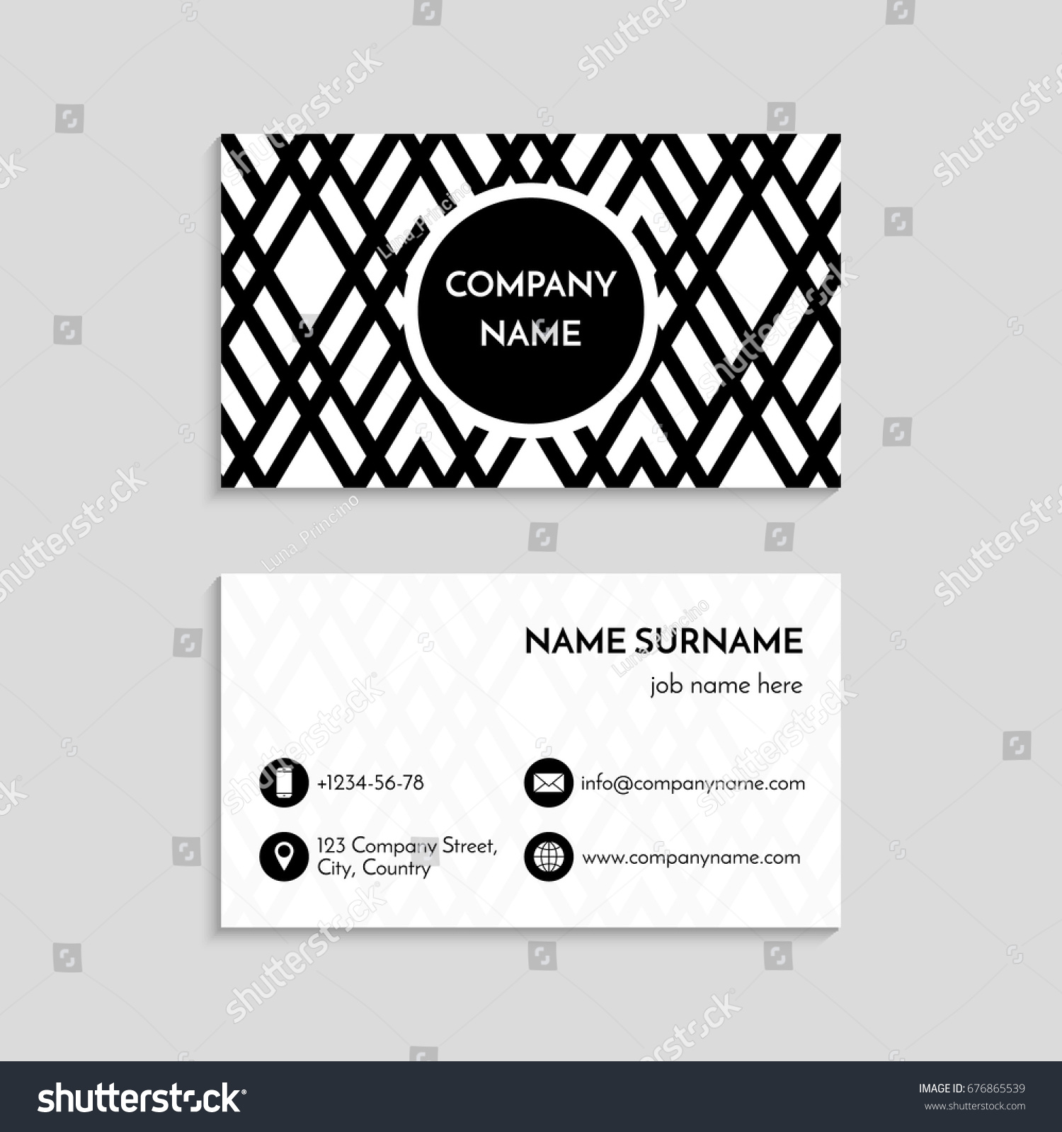 Business Card Template USA Canada Standard Stock Vector 676865539 ...