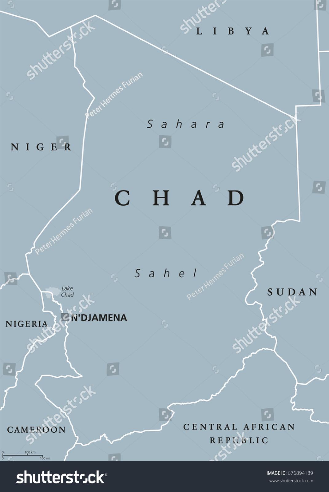 Chad Political Map Capital N Djamena International Stock Vector