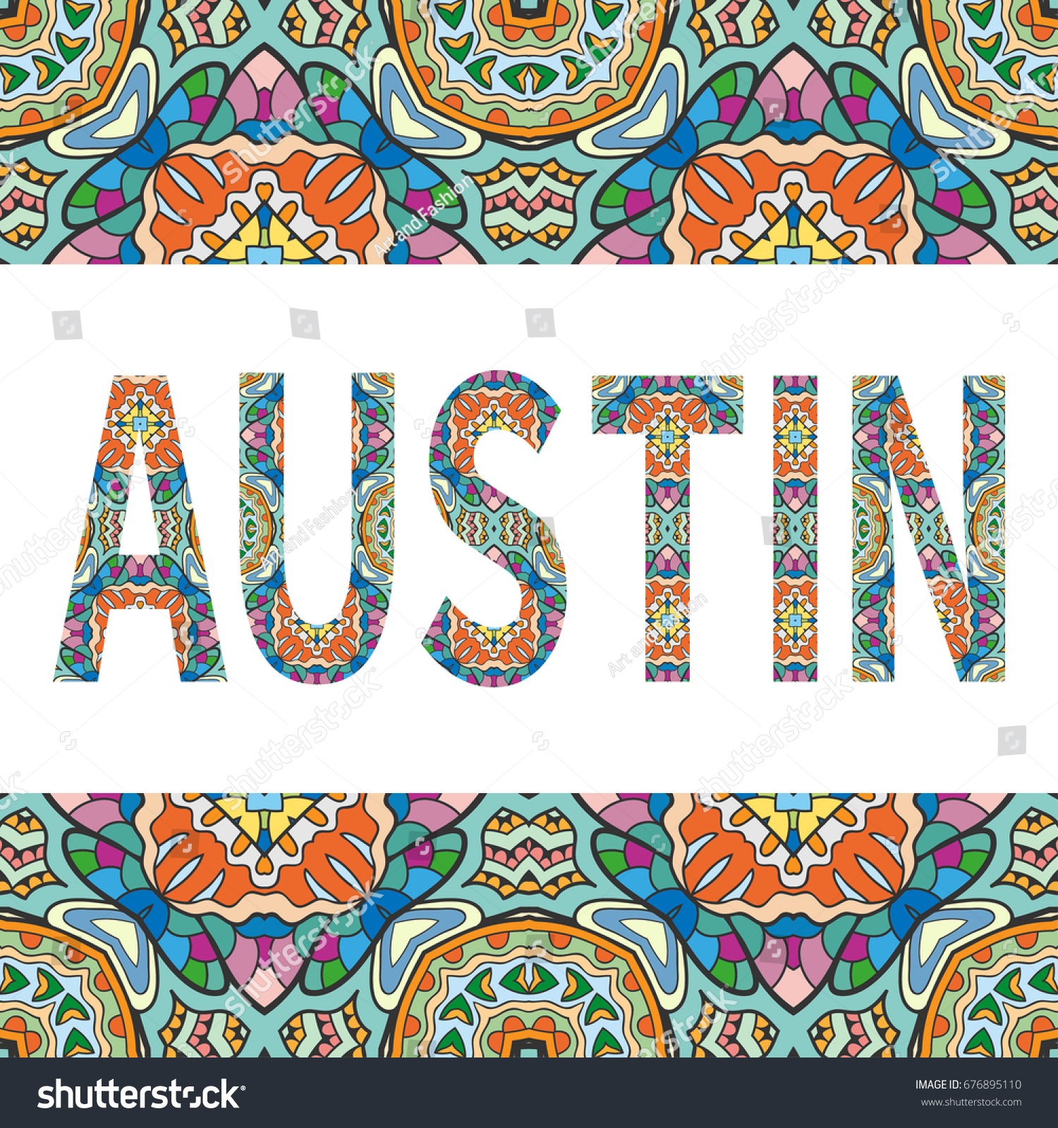 Austin Sign Lettering Tribal Ethnic Ornament Stock Vector 676895110 ...