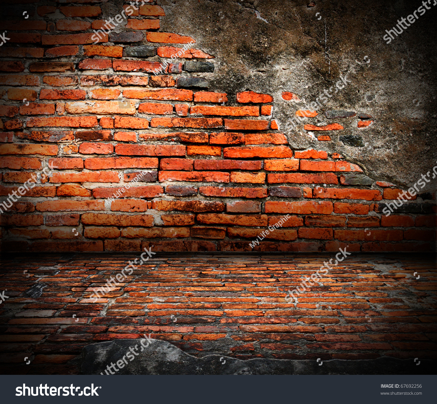 Old Room Brick Wall Grunge Industrial Stock Photo 67692256