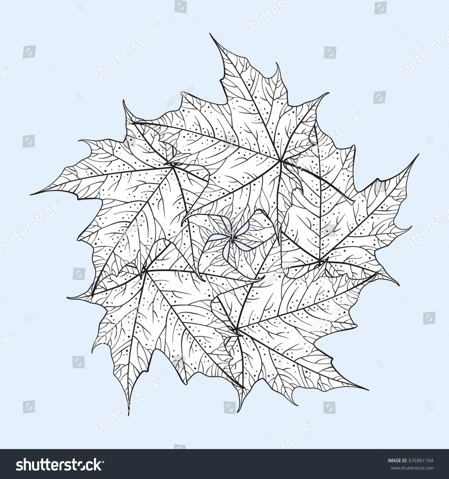 Maple Leaves Mandala Pattern Coloring Page Stock Vector (Royalty ...