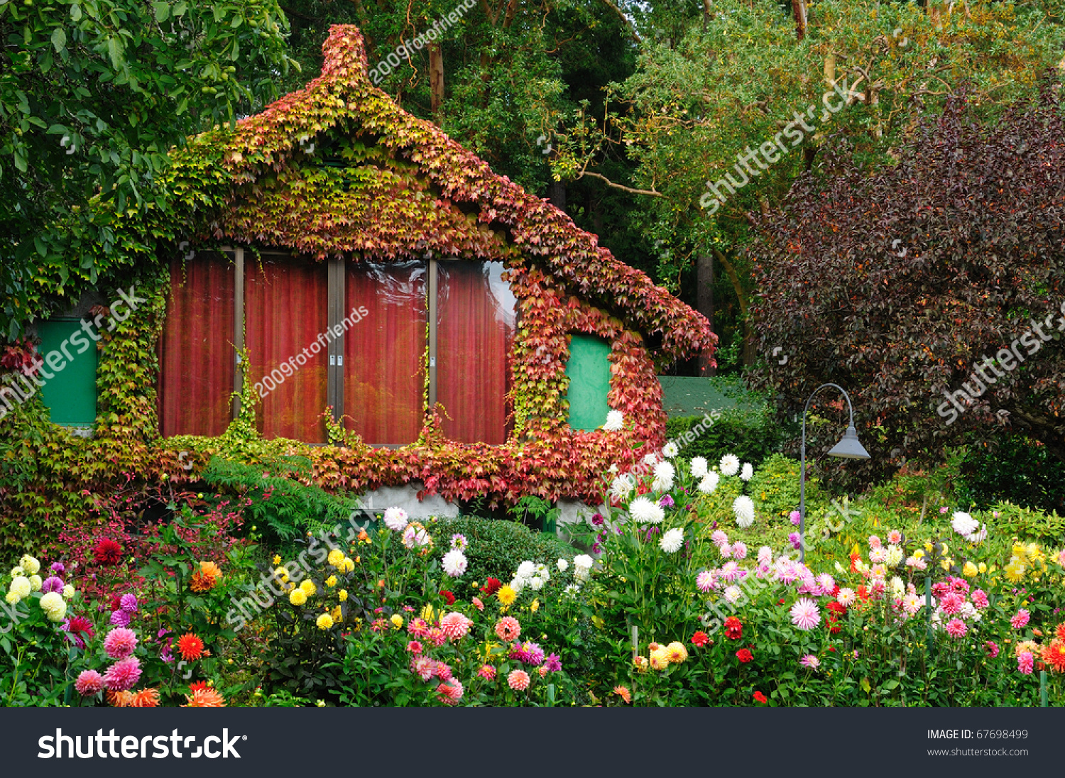 Vintage garden house butchart gardens victoria stock photo for Garden shed victoria bc