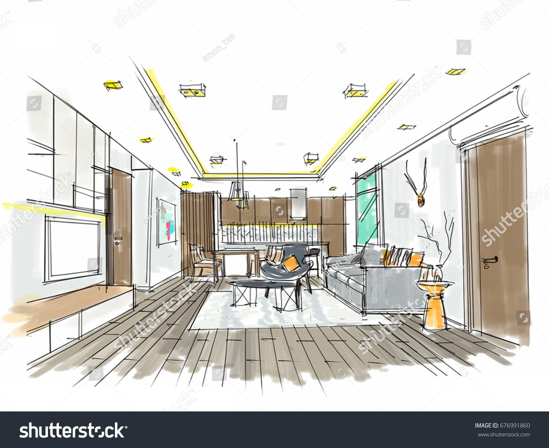 Home Interior Furniture Sofa Armchair Table Stock Illustration ...