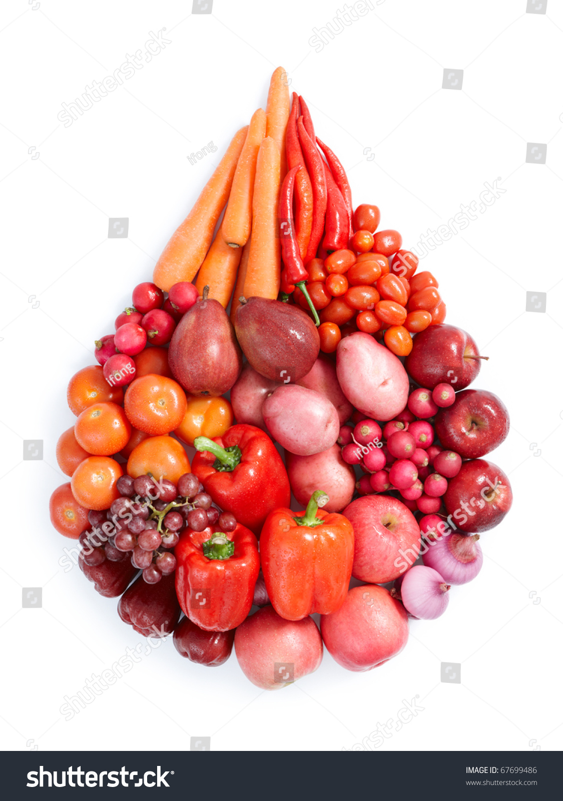 Red Vegetables Fruits Water Drop Shape Stock Photo ...
