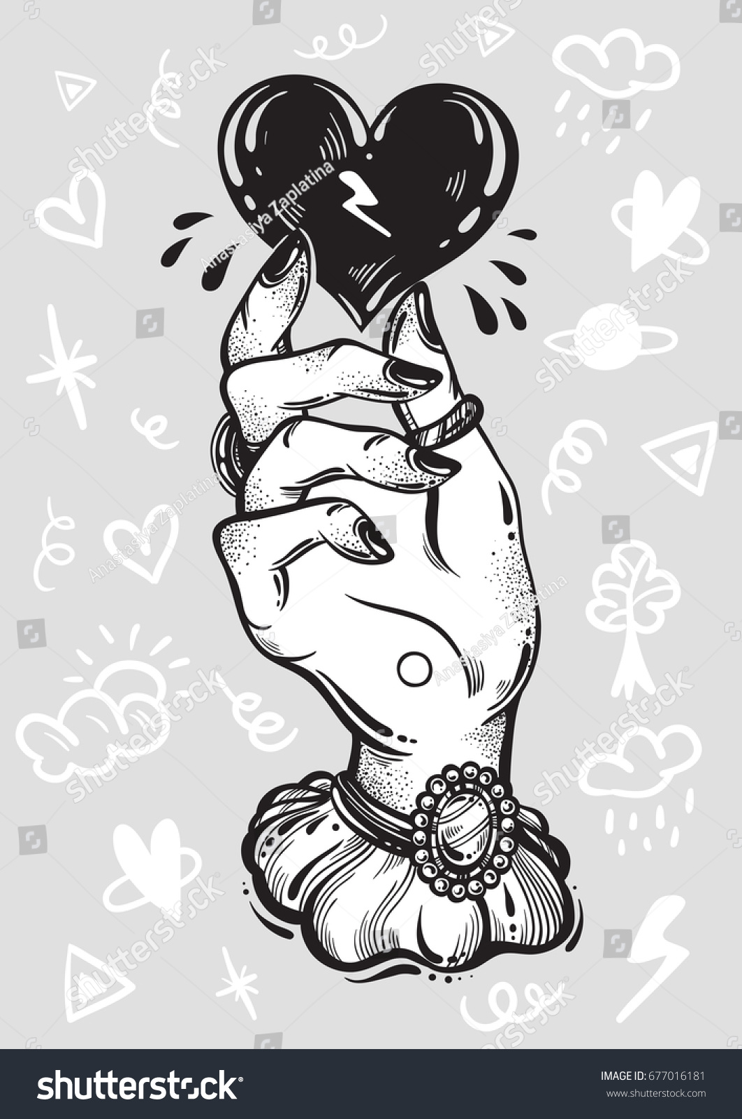 Blackwork Tattoo Flash Vintage Womans Hand Stock Vector Royalty Free 677016181