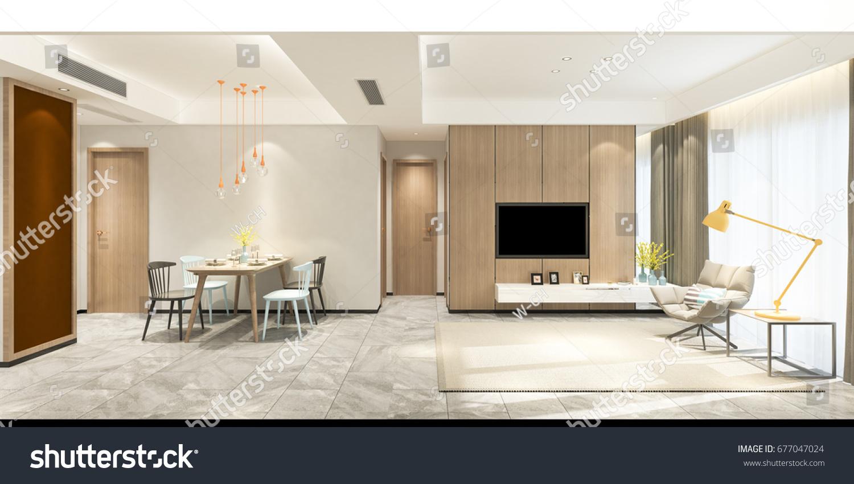 Modern living room dinning set with tv set on wall elevation 3d render