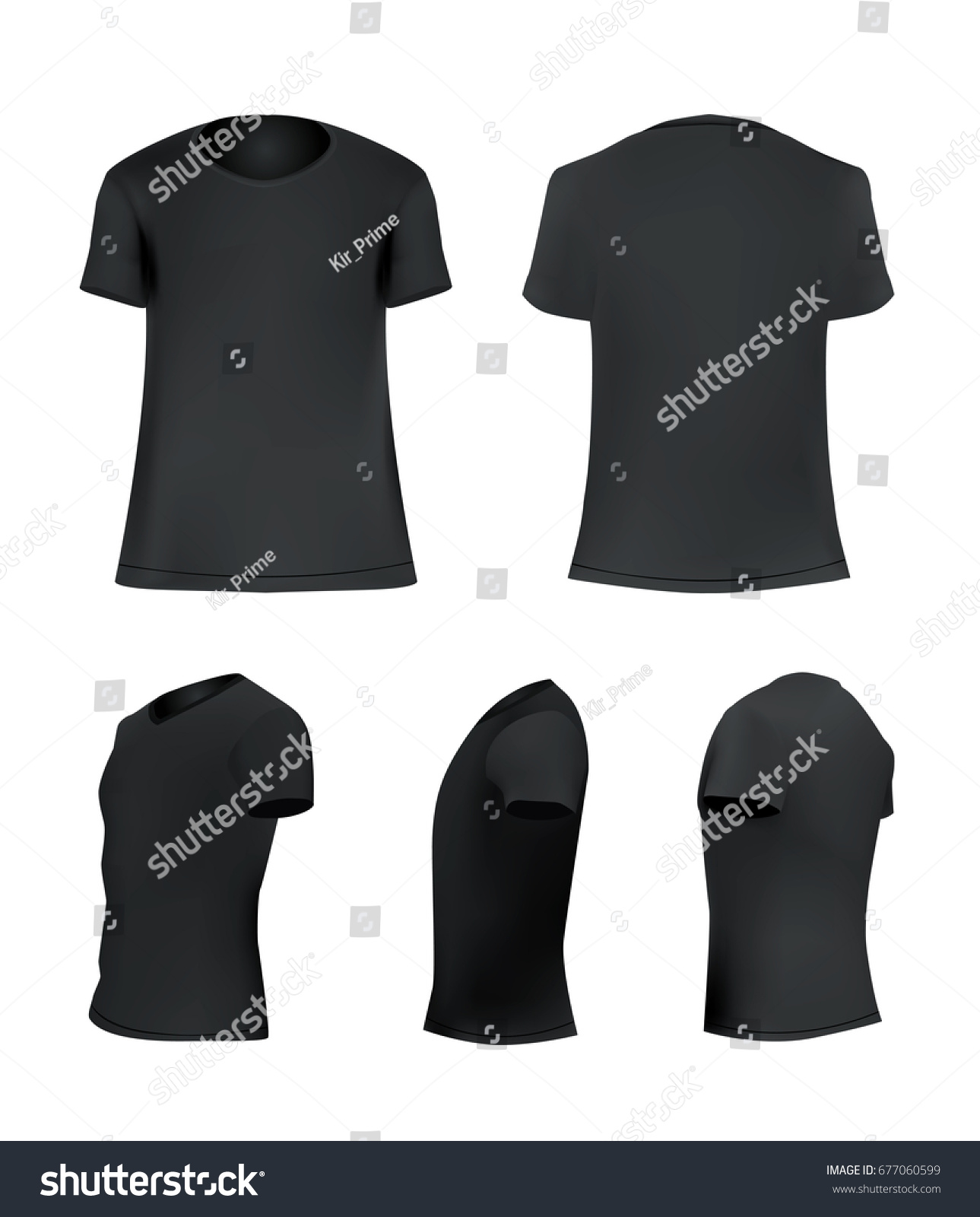 Black Tshirt Template Set Blank Shirt Stock Vector Royalty Free