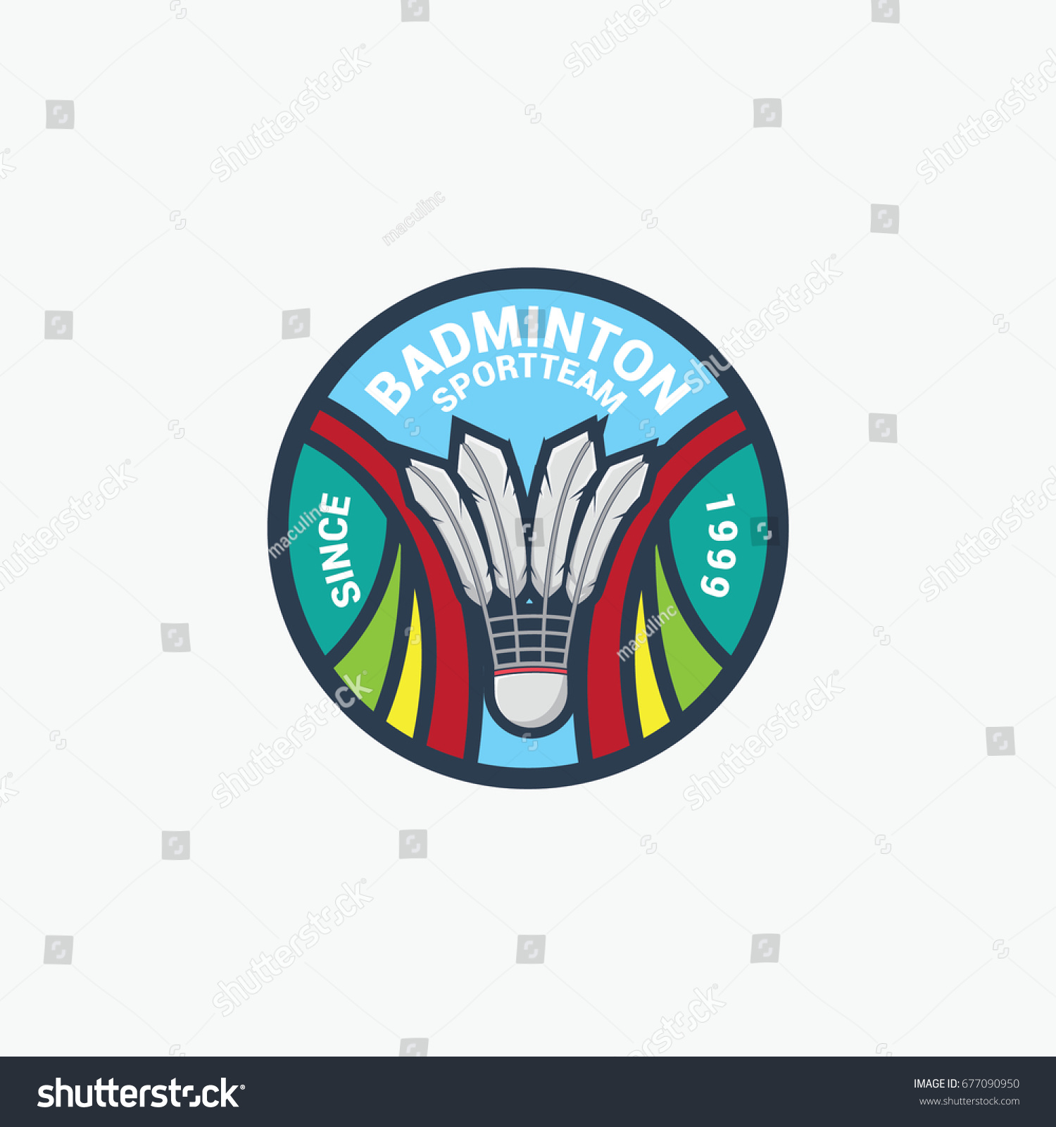 Badminton Sport Circle Logo Vector Stock Vector 677090950