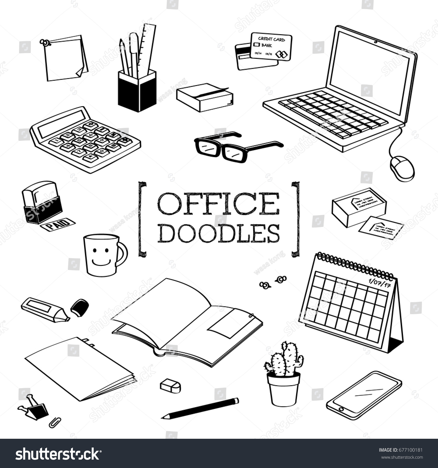 Office Stuff Doodle Hand Drawing Styles Office Stock Vector Royalty