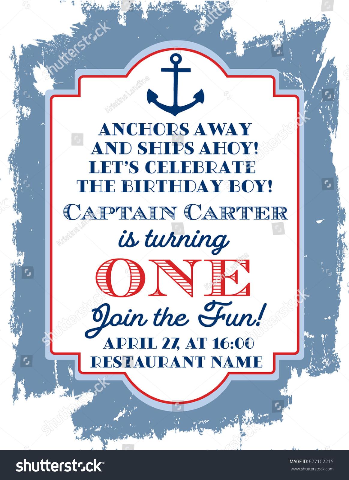 Nautical Sailor Theme Printable First Birthday Stock Vector ...