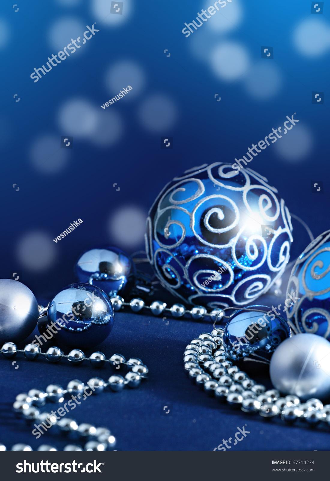 Blue Christmas Balls Silver String Pearls Stock Photo