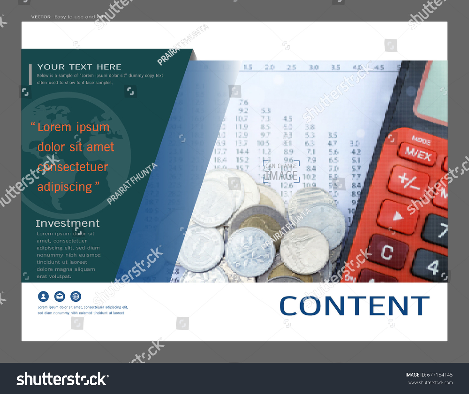 Presentation Layout Design Financial Cover Page Stock Vector ...