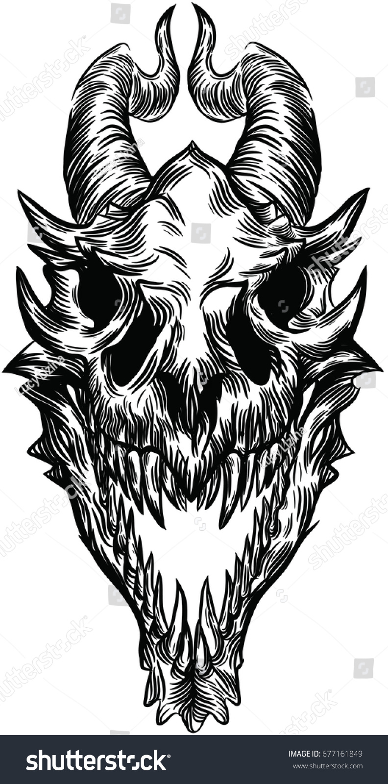 Dragon Skull Stock Vector Royalty Free 677161849 #sculpture #ceramics #dragon #dragon skull #bone time #she lived a good life #yes i gave her a full i've done a pearlcatcher and ridgeback skull so far so there's just snapper and spiral left before. https www shutterstock com image vector dragon skull 677161849