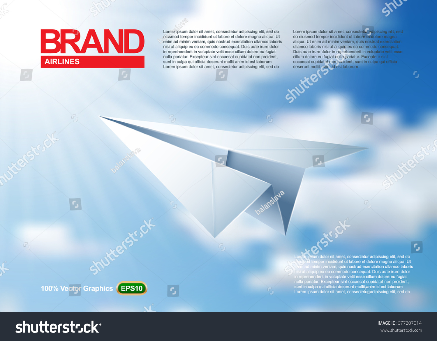 Paper Airplane Magazine Or Poster Template Origami Flying In A Beautiful Blue Sky Realistic
