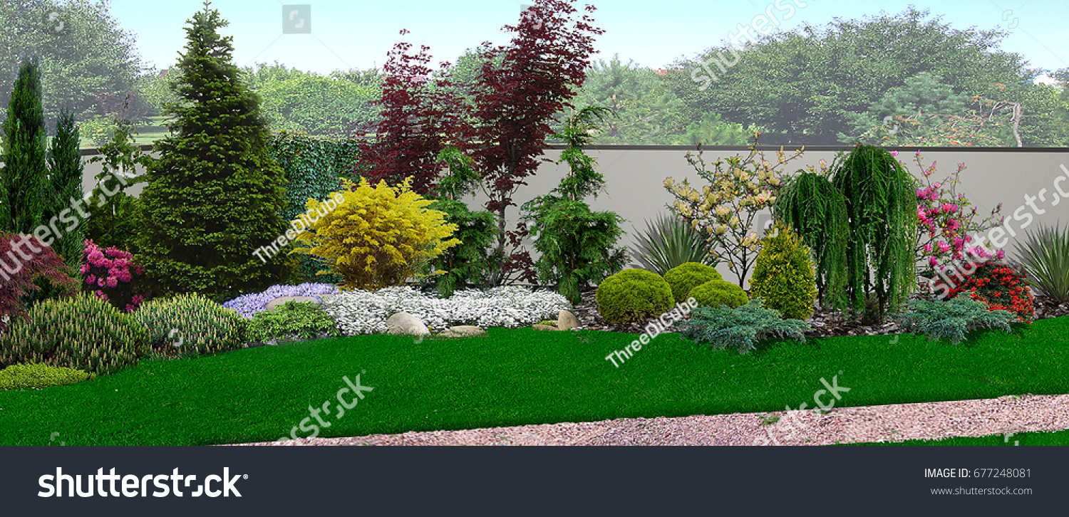 Unified Look Of Blooming Garden Integrated Into The Natural Environment,  Trees And Shrubs Of Various