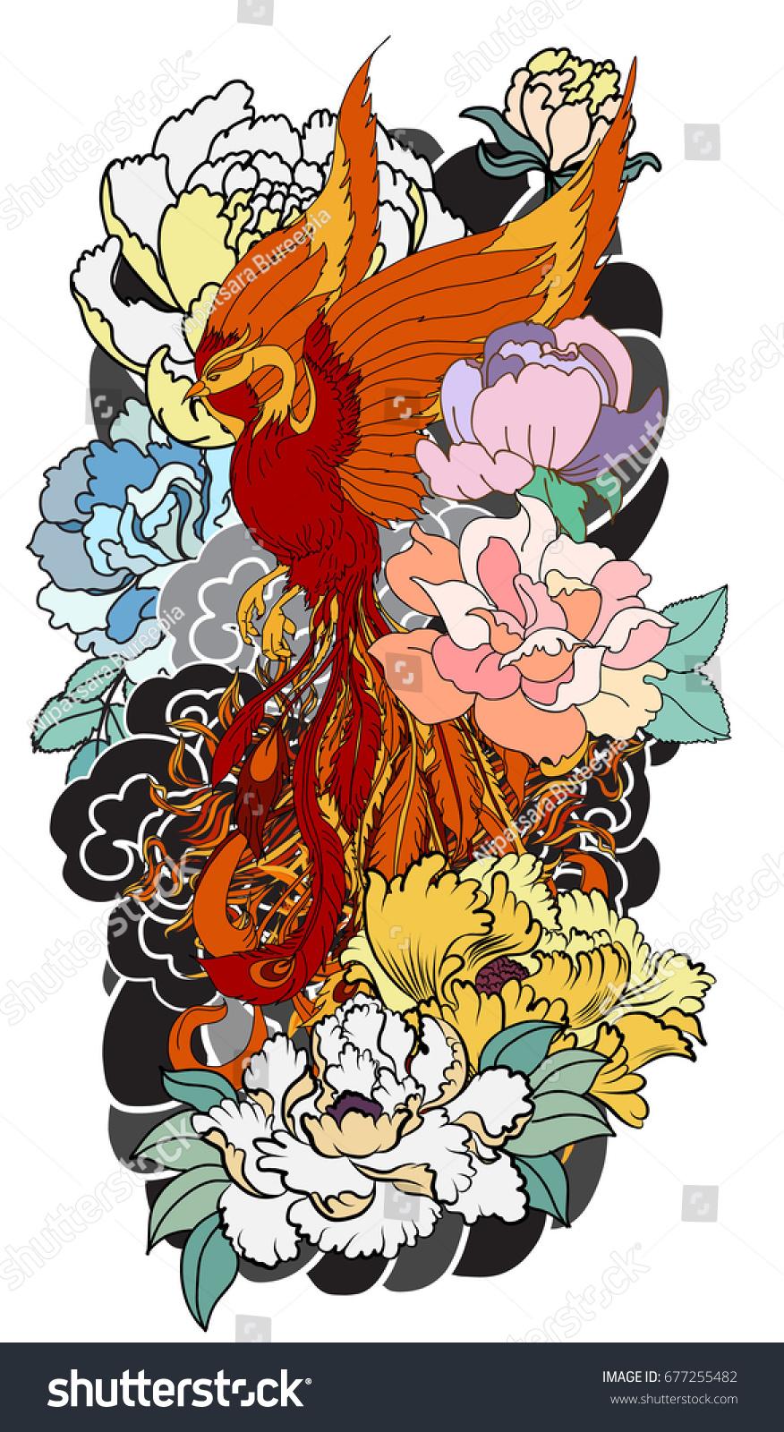 Colorful Phoenix Fire Bird Peony Flower Stock Vector 677255482 ...