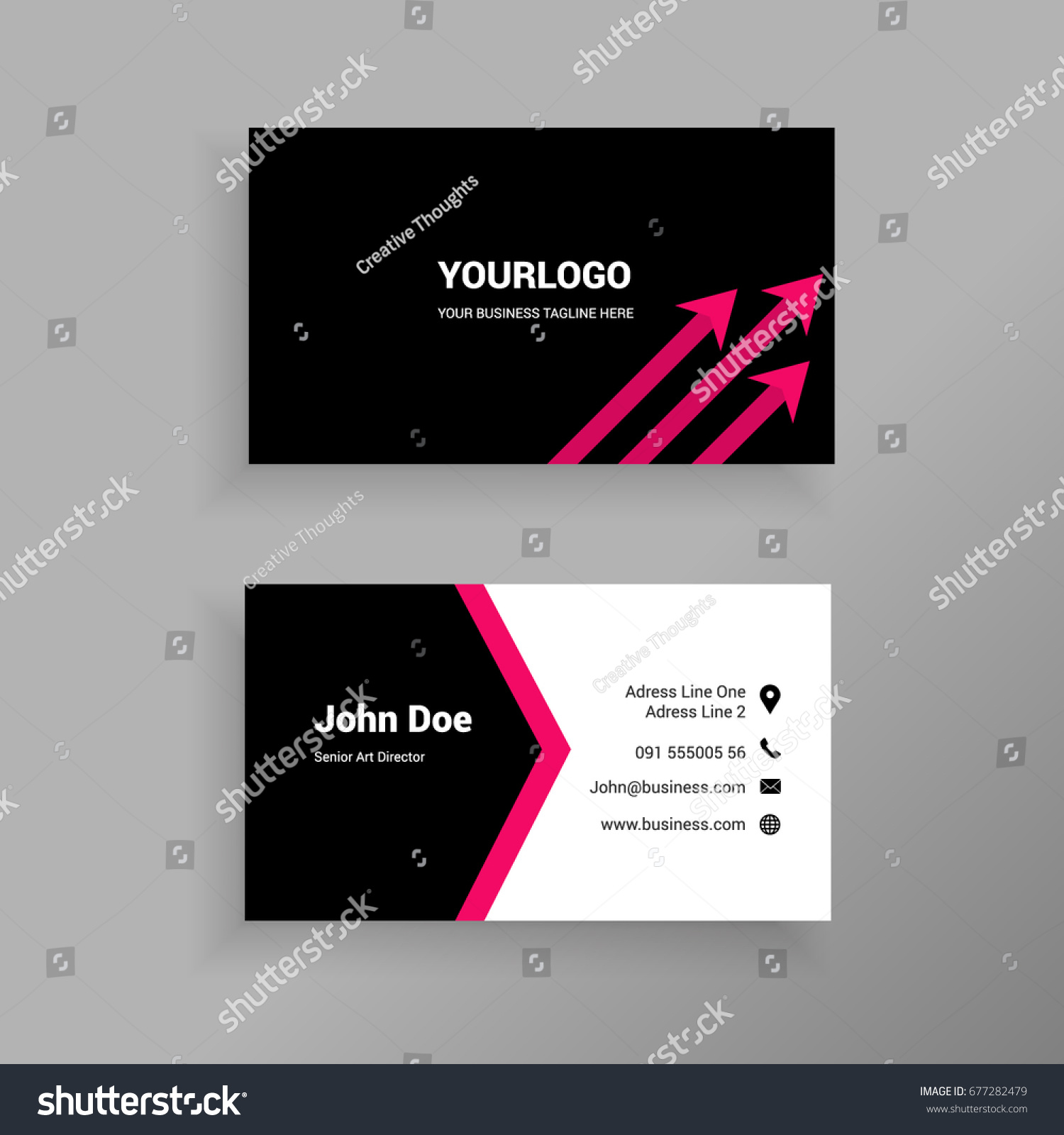 Red Arrows Minimal Trendy Business Card Stock Vector 677282479 ...
