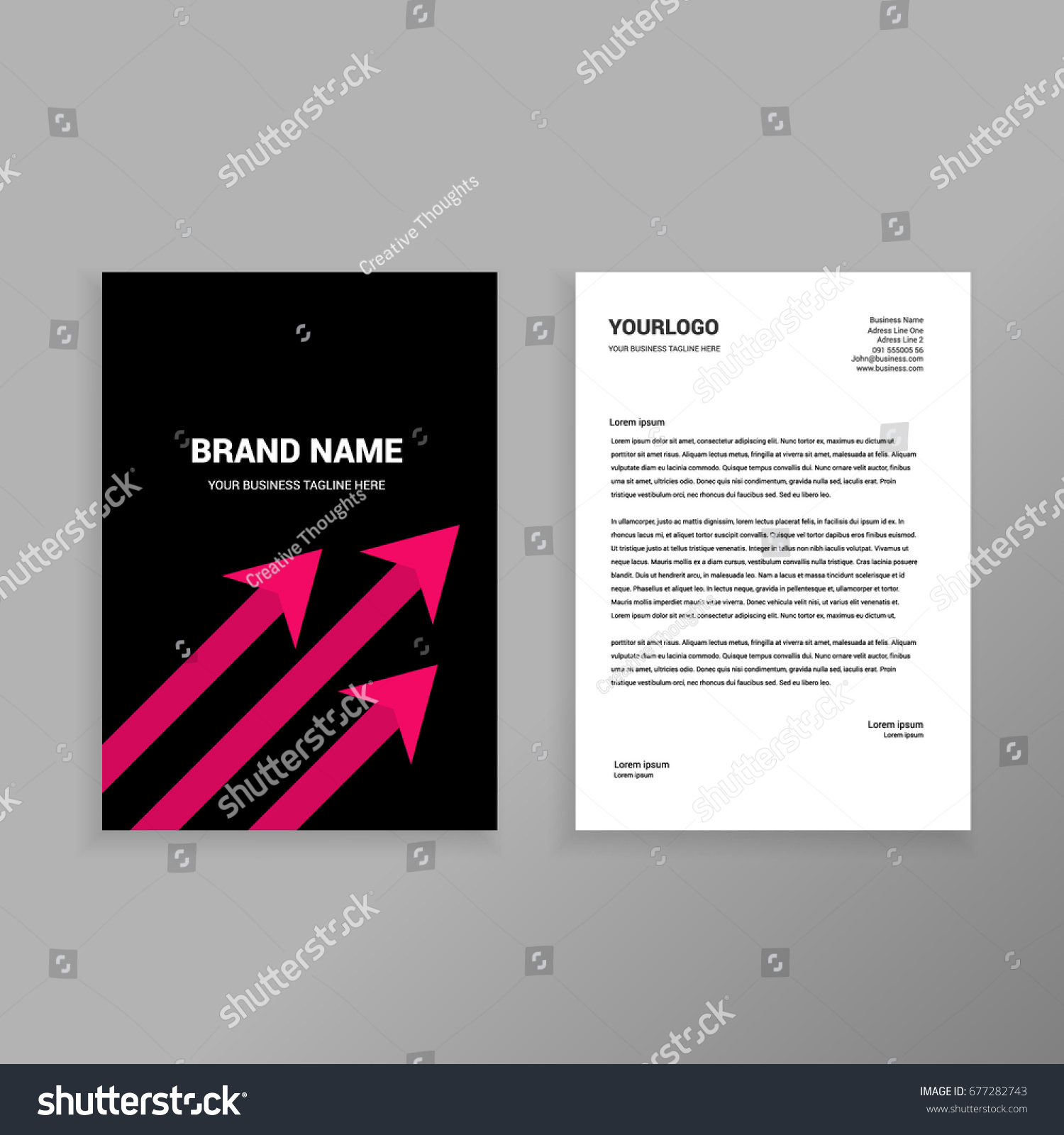 red arrows elegant business formal letterhead design template orint ready