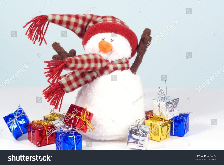 Windblown Snowman Presents Christmas Theme Stock Photo Edit