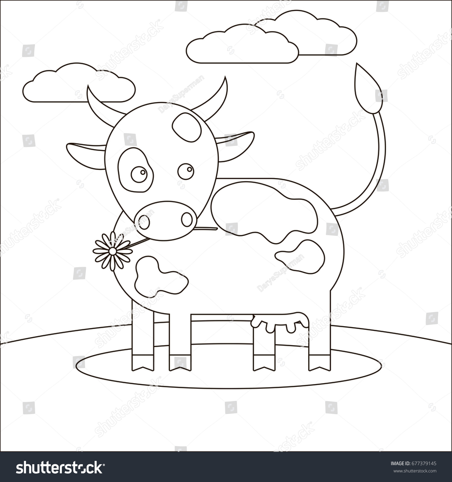 Animal Cow Coloring Book Children Cow Stock Illustration 677379145 ...