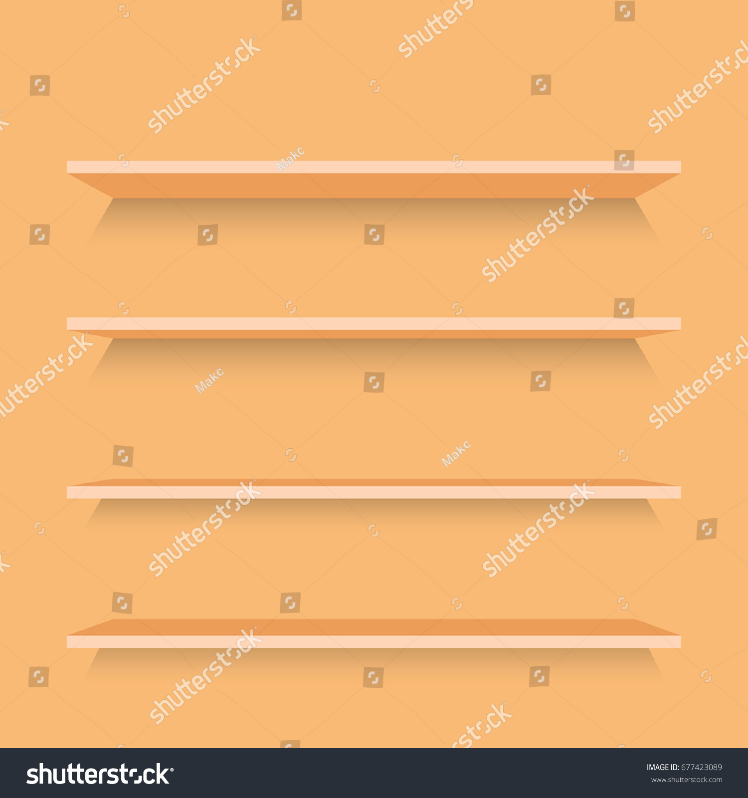 Empty Wood Shelf On Wood Decorative Stock Vector 677423089 ...
