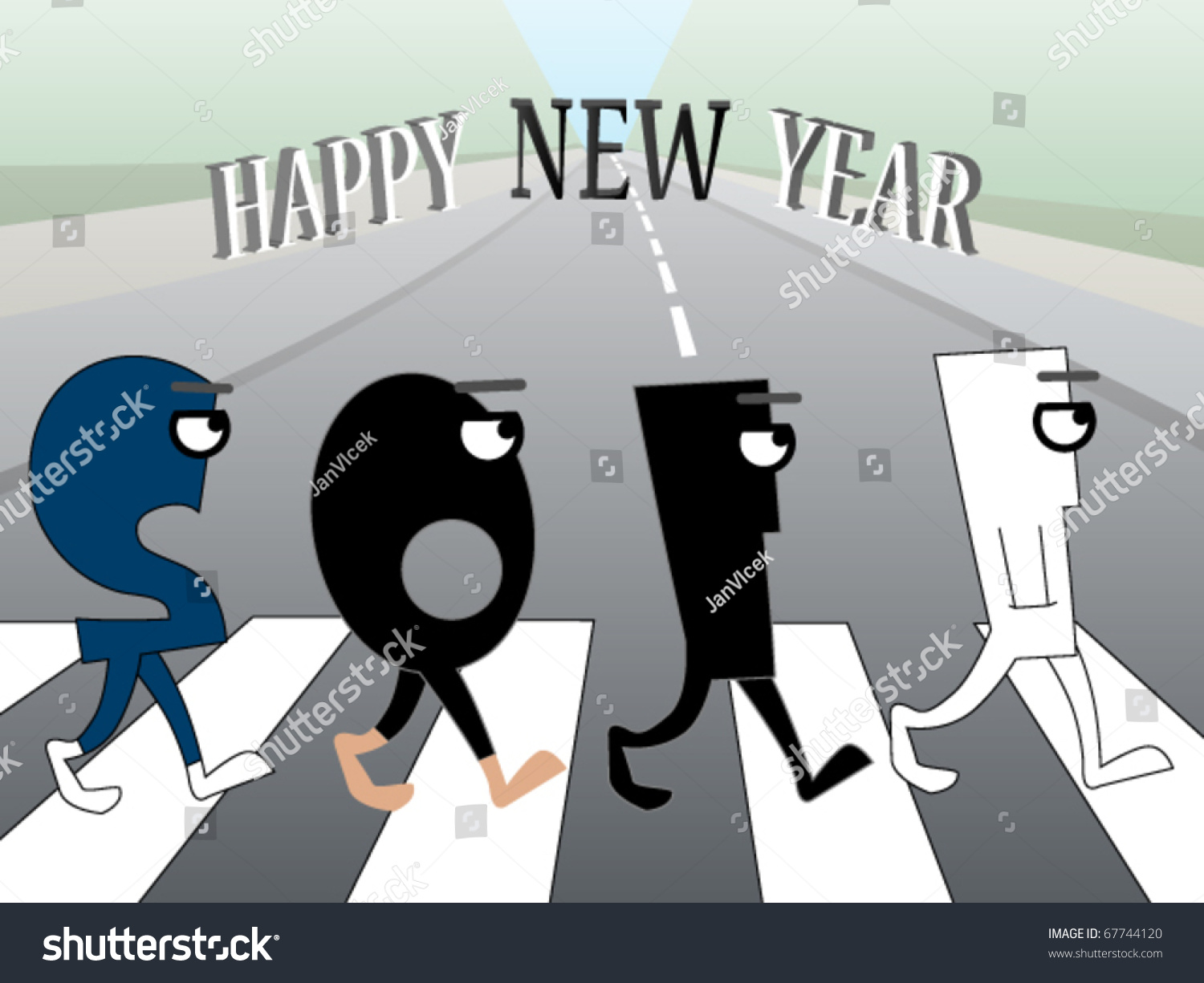 funny new years greeting card where numbers are crossing the street