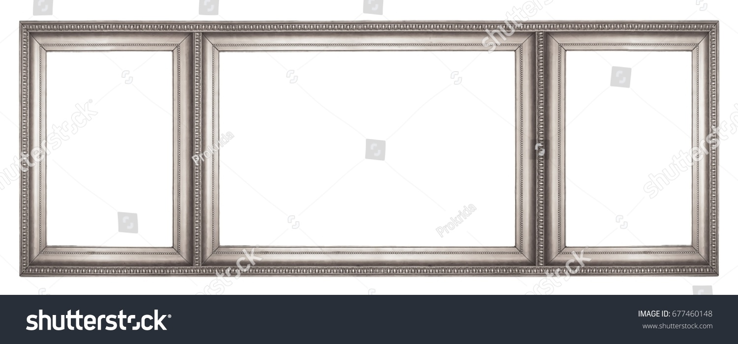 Silver frame three parts triptych on stock photo 677460148 silver frame of three parts triptych on a white background for paintings mirrors jeuxipadfo Gallery