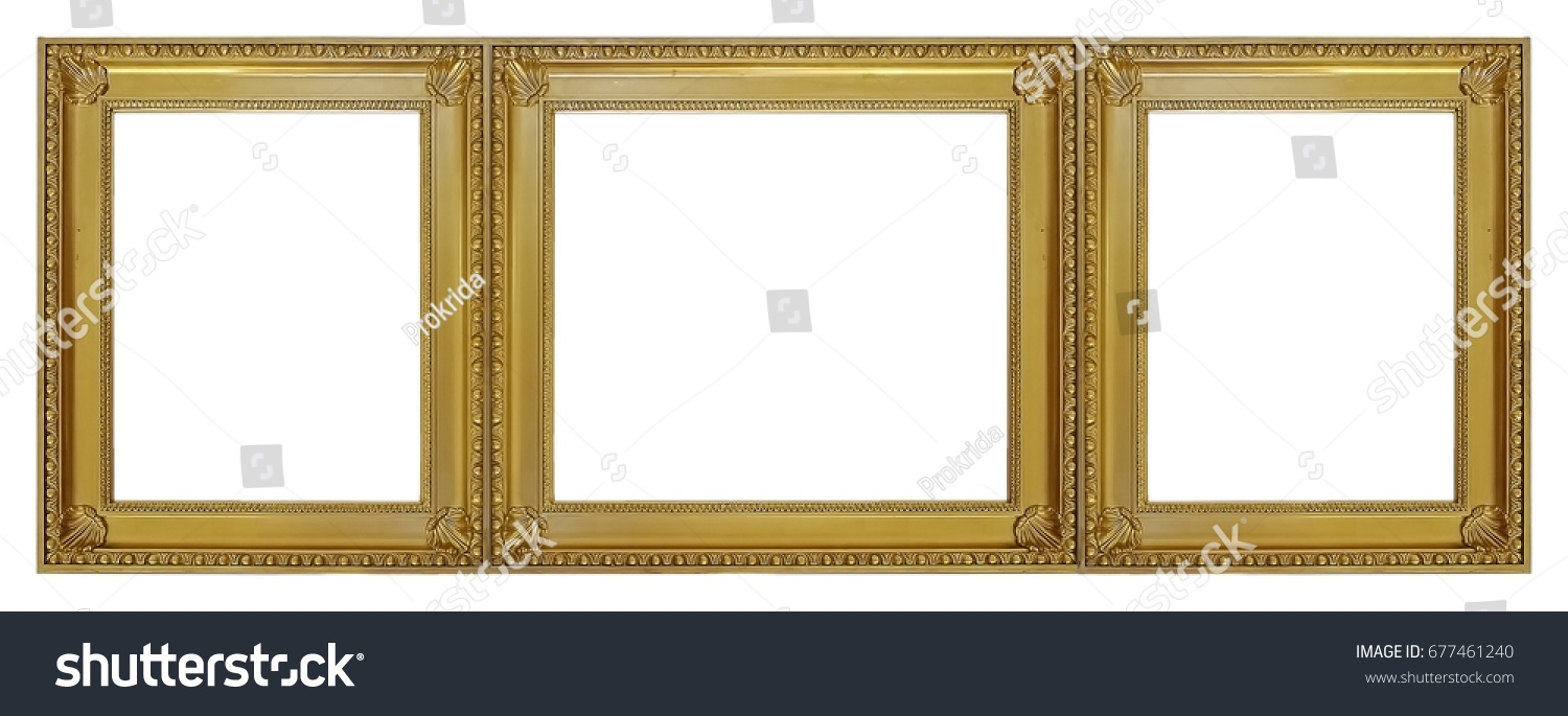 Gold Frame Three Parts Triptych On Stock Photo (Edit Now) 677461240 ...