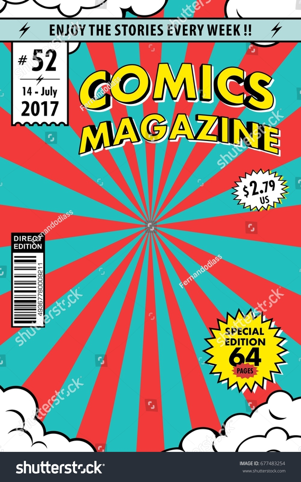 comic book cover template magazine vector stock vector 677483254 shutterstock. Black Bedroom Furniture Sets. Home Design Ideas