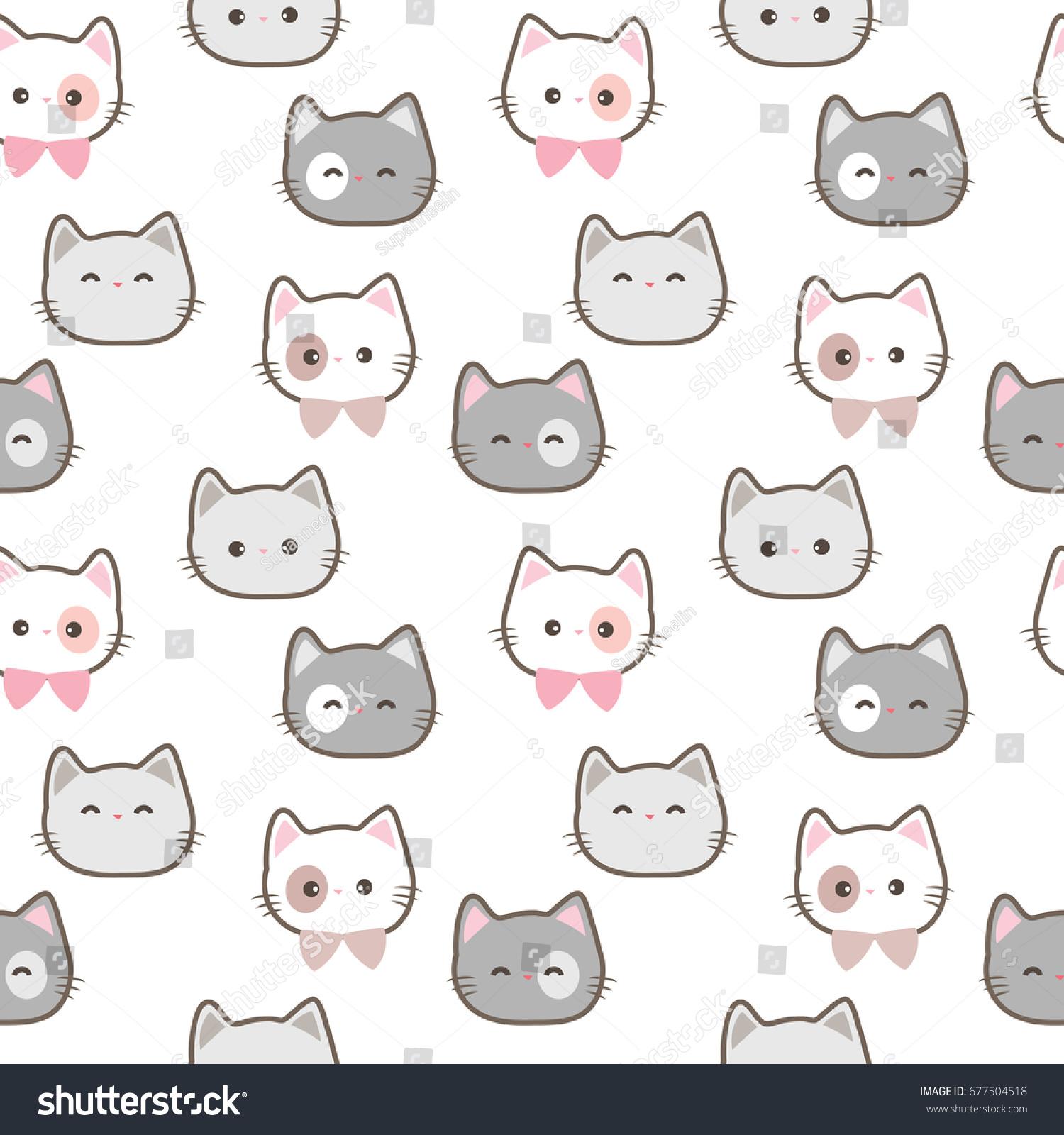 Seamless Pattern Cute Cartoon Cat Face Stock Vector Royalty Free