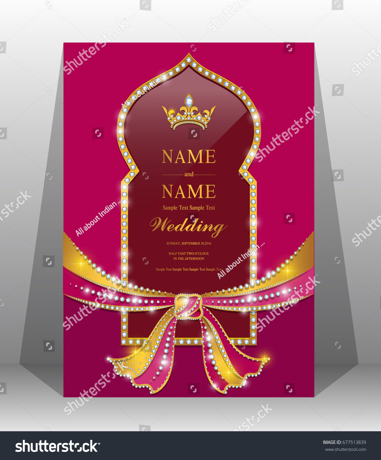 Luxury Wedding Invitation Card Gold Hindu Stock Vector (Royalty Free ...