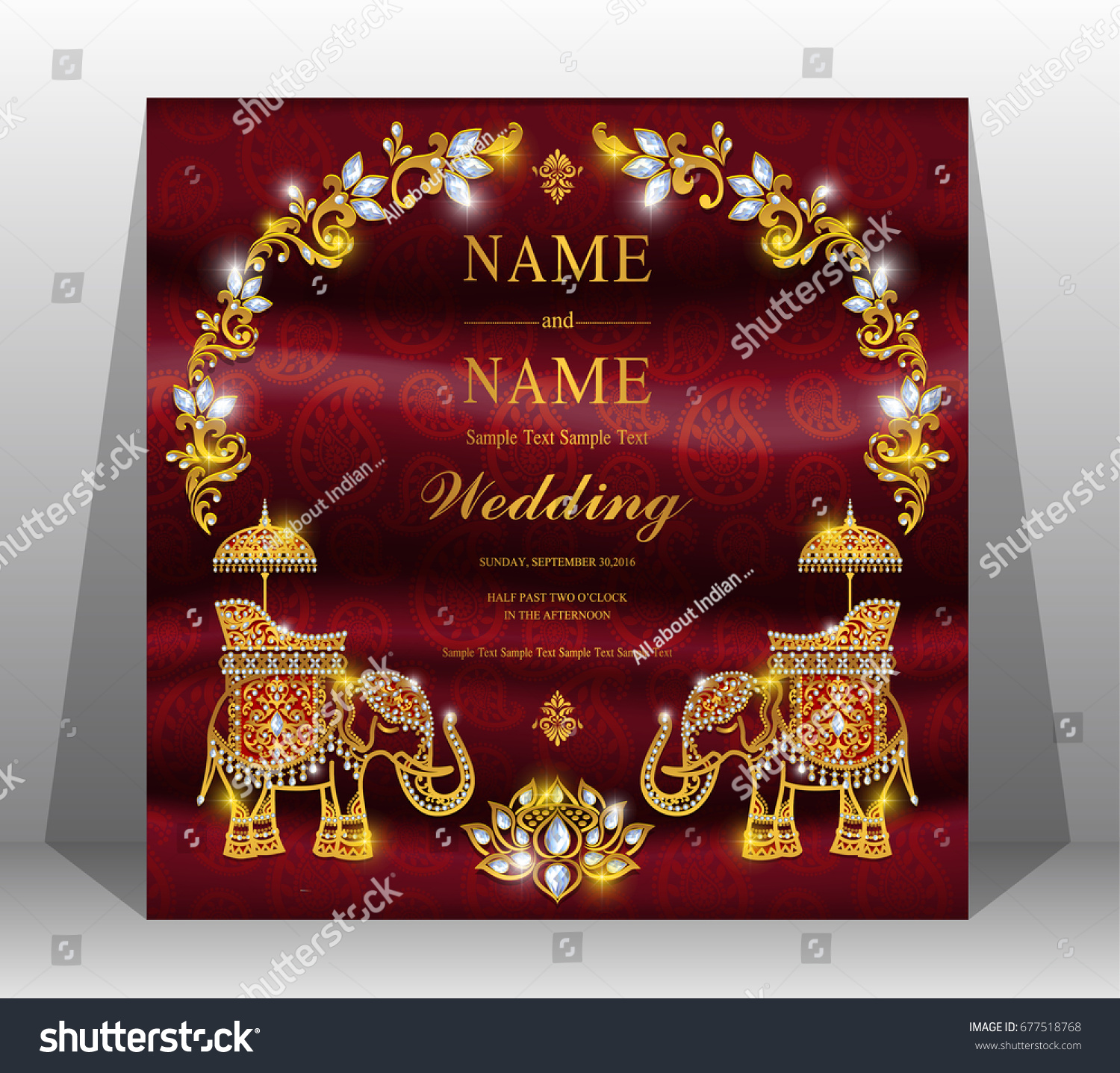 Luxur Wedding Invitation Card Gold Elephant Stock Vector