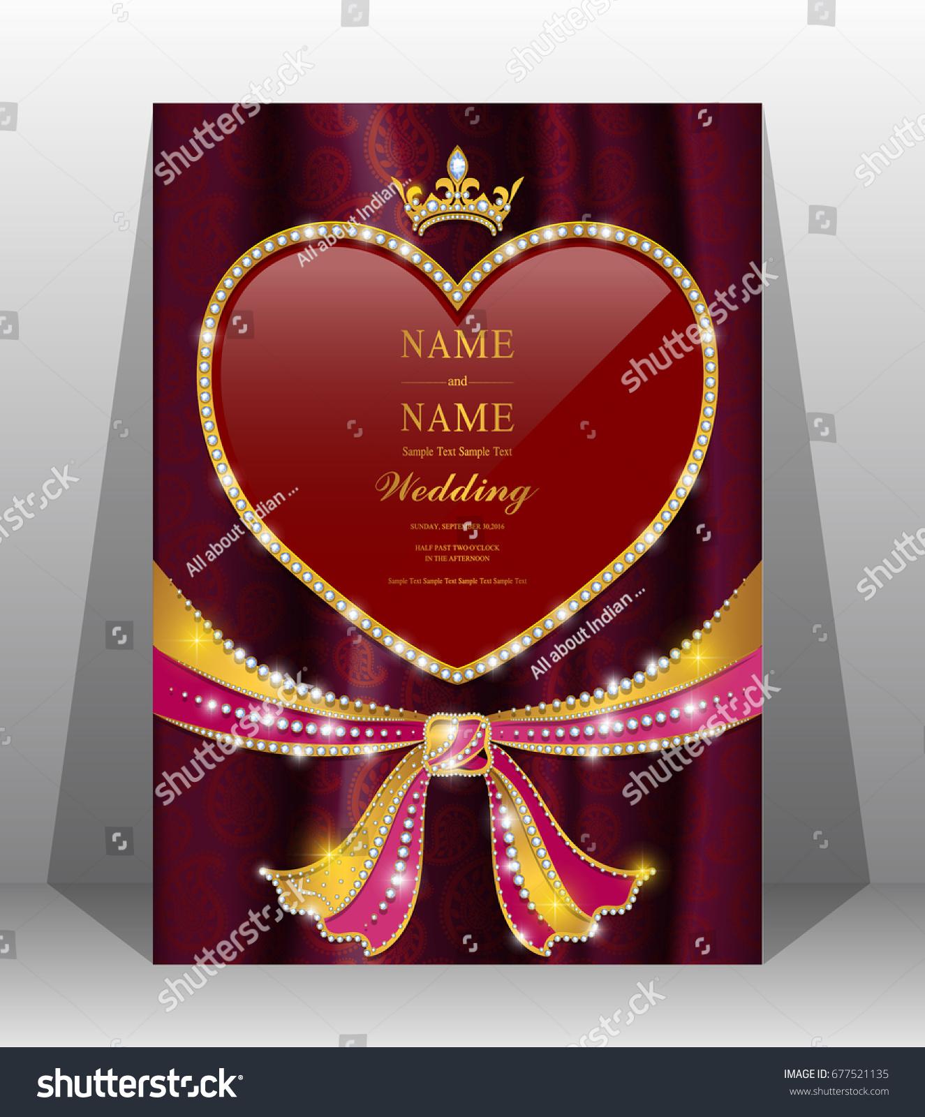 Luxury Wedding Invitation Card Gold Hindu Stock Vector 677521135 ...