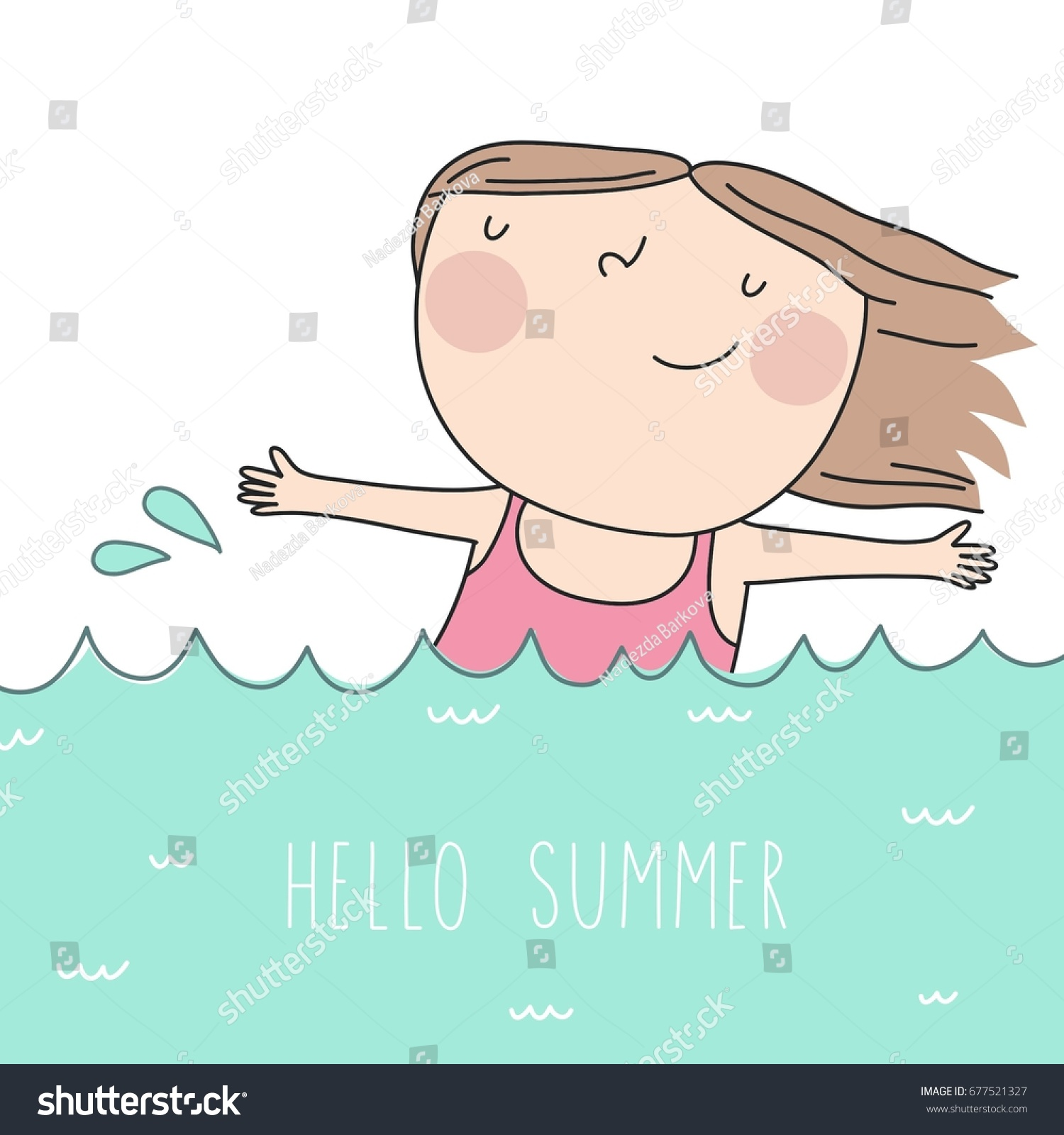 Genial Hello Summer. Cool Card With Cute Girl
