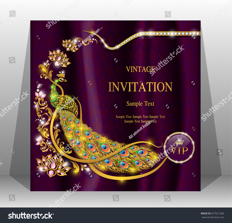 Luxury wedding invitation card gold peacock stock vector 677521396 luxury wedding invitation card with gold peacock patterned and gem diamond jewelry have glitter on silk monicamarmolfo Choice Image