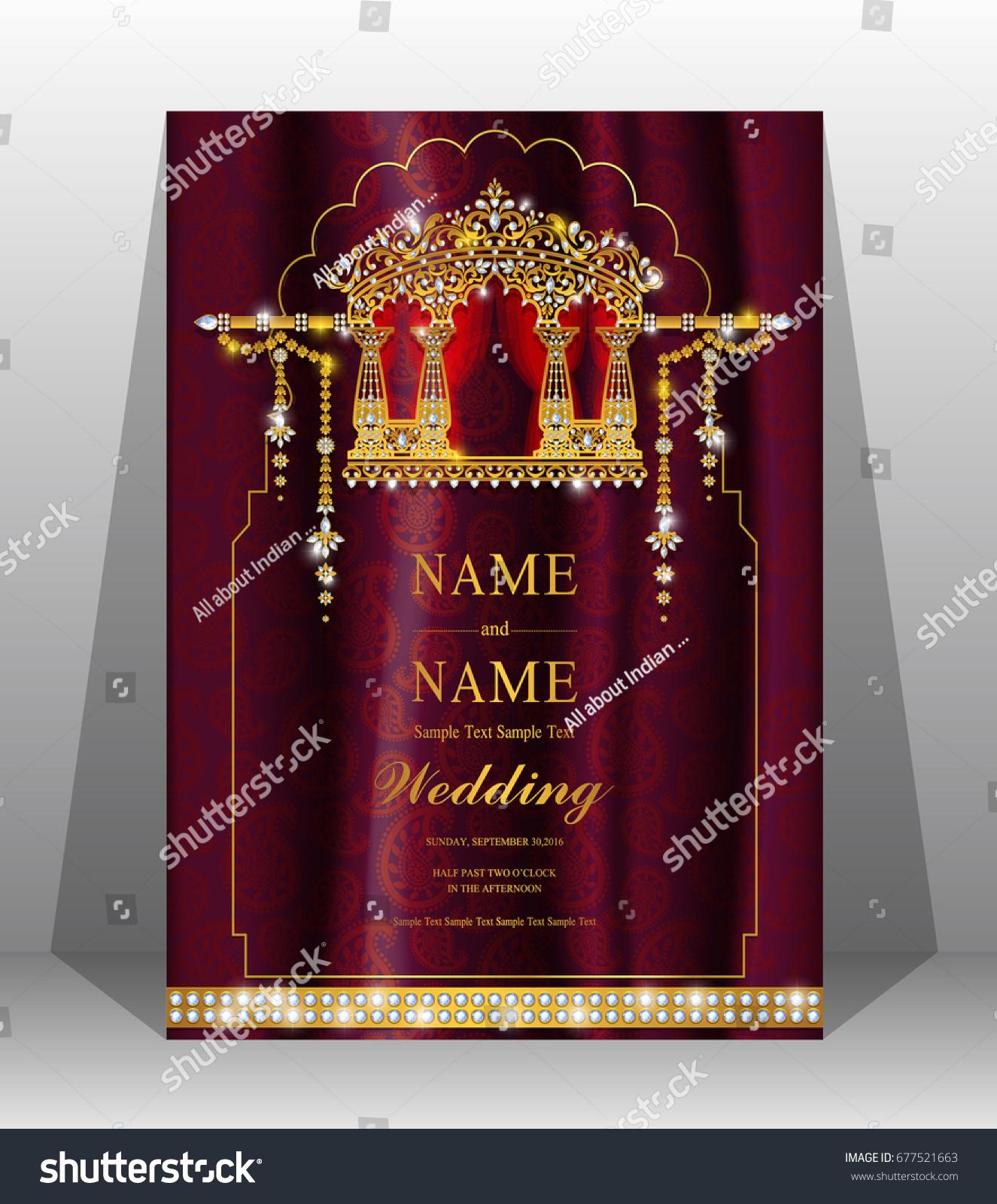 Luxury Wedding Invitation Card Gold Doli Stock Vector (Royalty Free ...