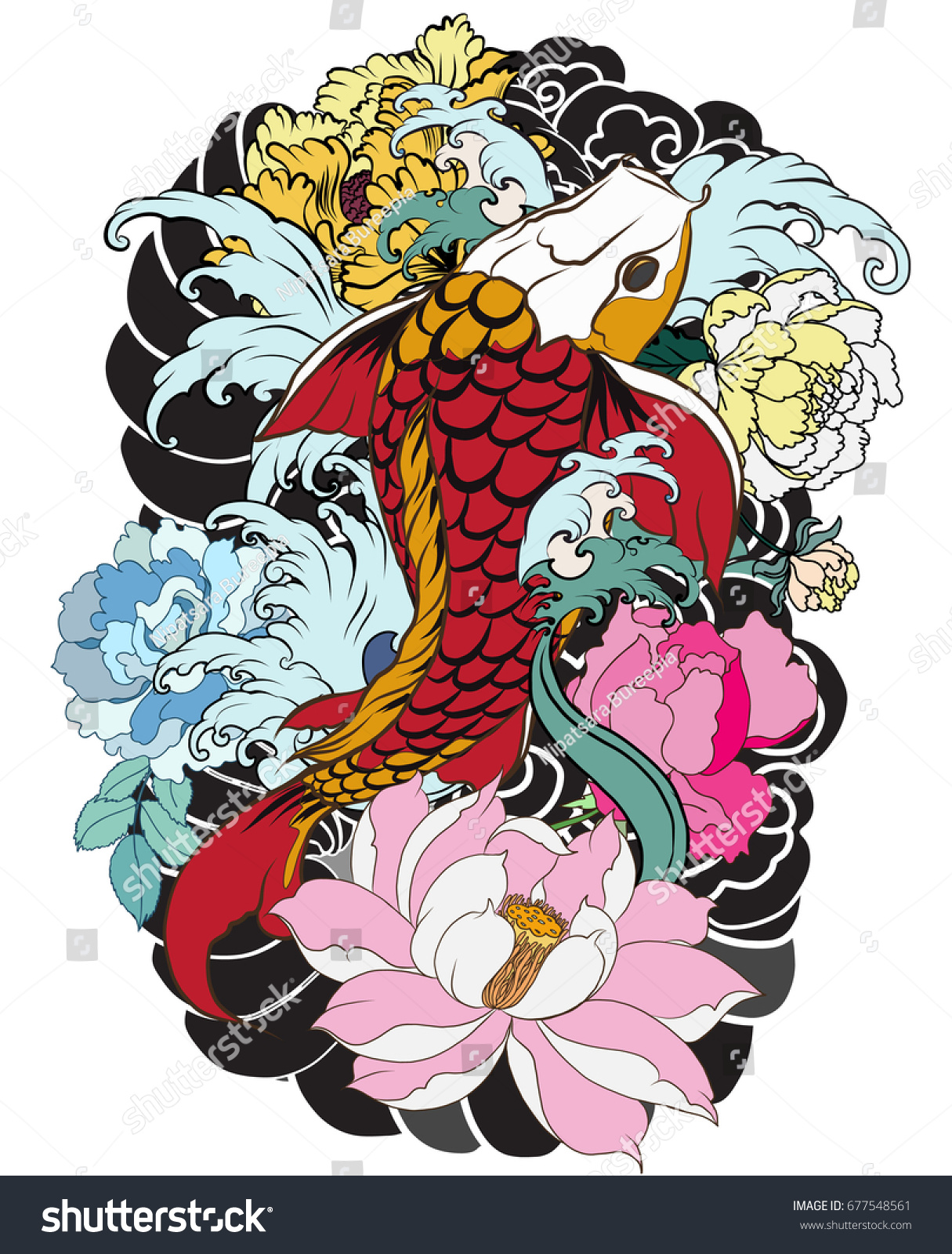 Hand Drawn Koi Fish Flower Tattoo Stock Vector 677548561 - Shutterstock