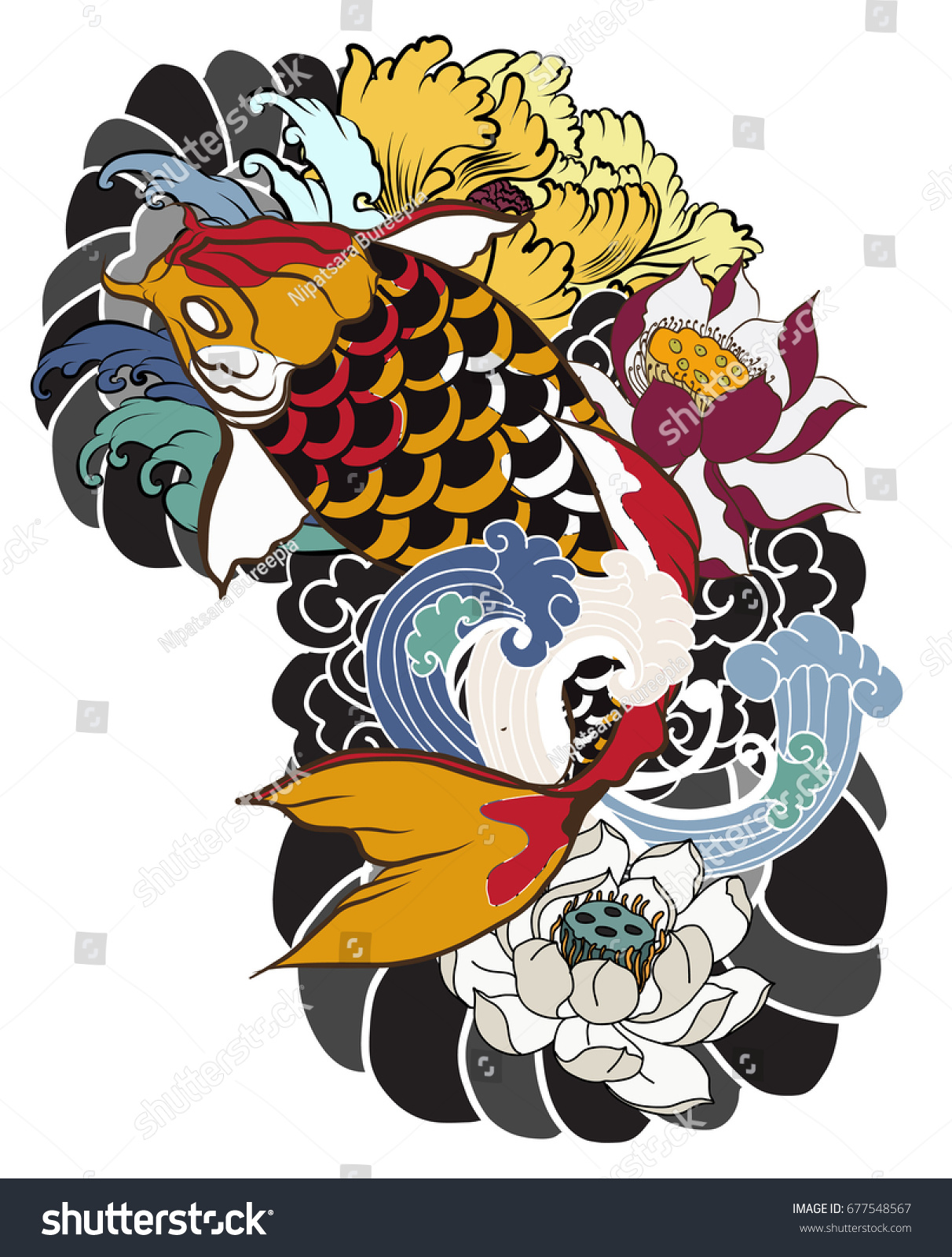 Hand drawn koi fish flower tattoo stock vector royalty free hand drawn koi fish with flower tattoo for armlorful koi carp with water splash izmirmasajfo