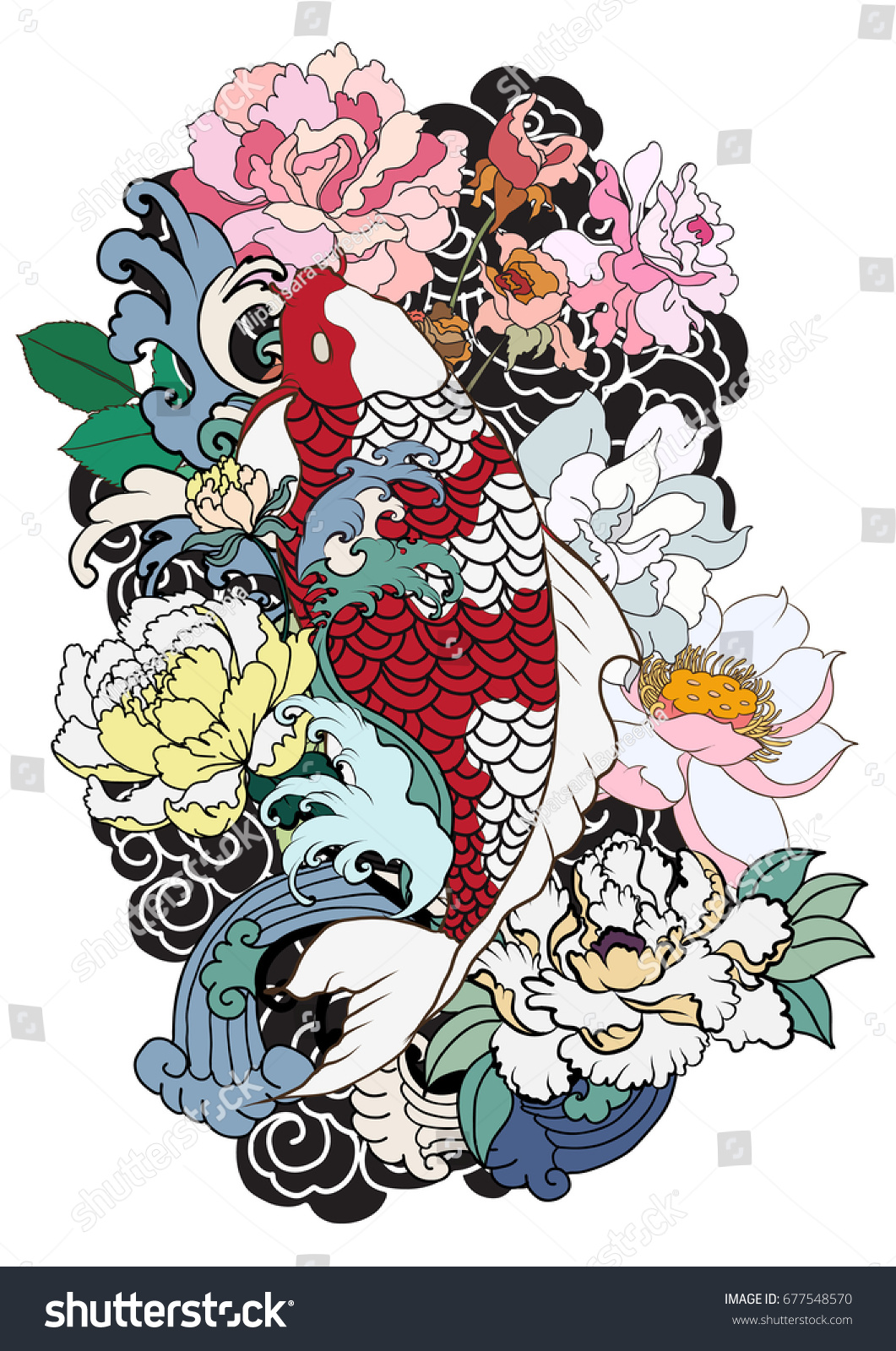 Hand Drawn Koi Fish Flower Tattoo Stock Vector 677548570 - Shutterstock