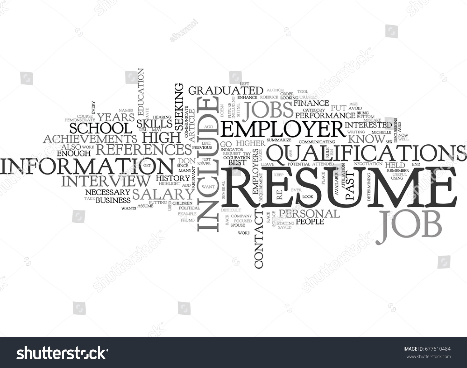 what not include your resume text stock vector 677610484